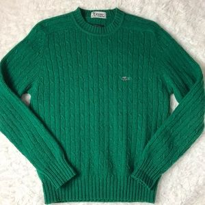 Vintage Izod Lacoste Cable Knit Pullover Sweater